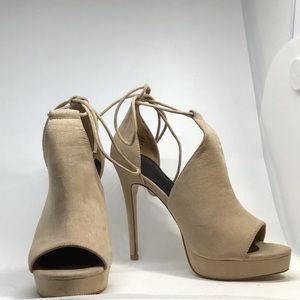 Aldo Beige Suede Cutout Booties 6.5 Stiletto Heel